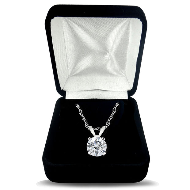 1/2 Carat Round Diamond 14K Gold Solitaire Necklace (G-H, I2)