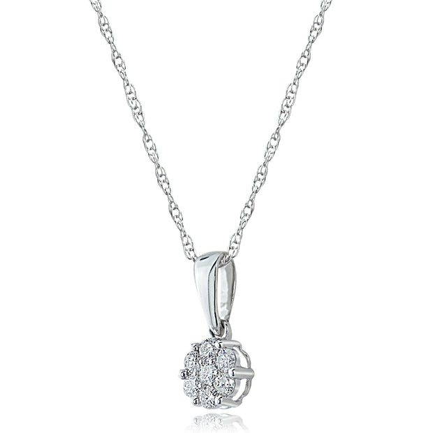 14K Gold 0.15ct tdw Diamond Cluster Pendant Necklace (G-H, I2)