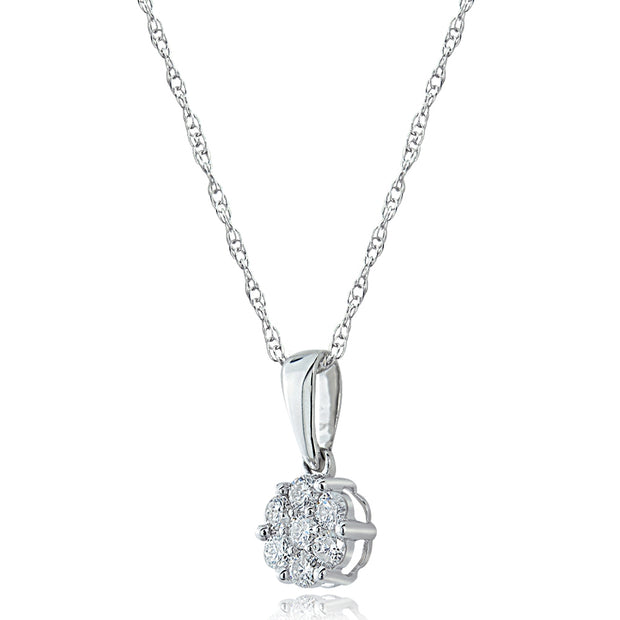 14K Gold 0.25ct tdw Diamond Cluster Pendant Necklace (G-H, I2)