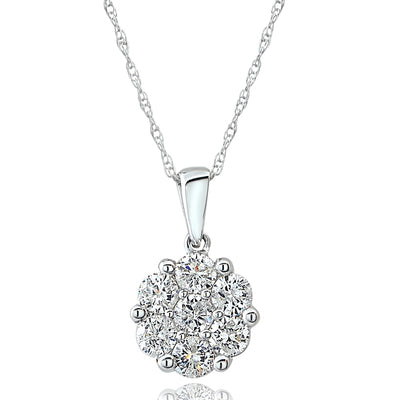 14K Gold 0.75ct tdw Diamond Cluster Pendant Necklace (G-H, I2)