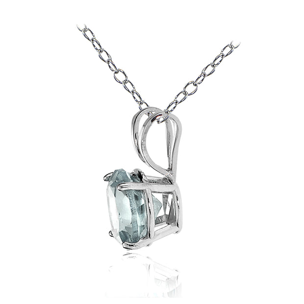 14k White Gold Aquamarine 5mm Round Solitaire Necklace
