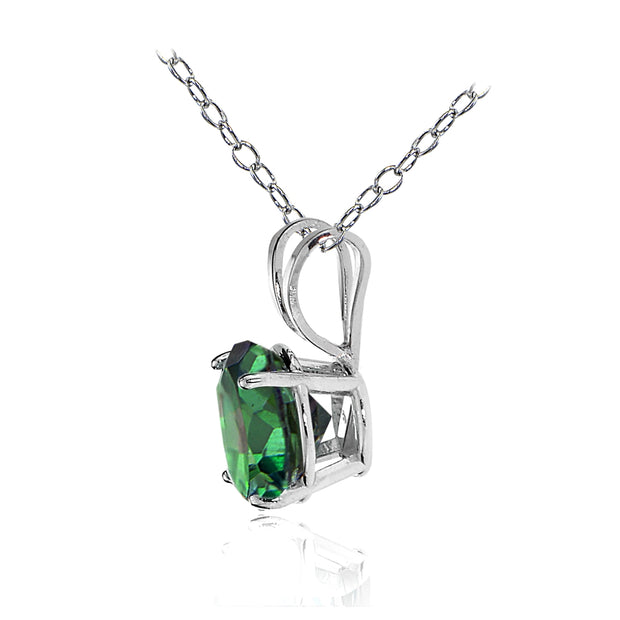 14k White Gold Green Mystic Topaz 5mm Round Solitaire Necklace