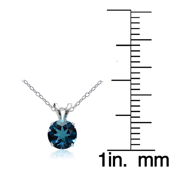 14k White Gold London Blue Topaz 5mm Round Solitaire Necklace