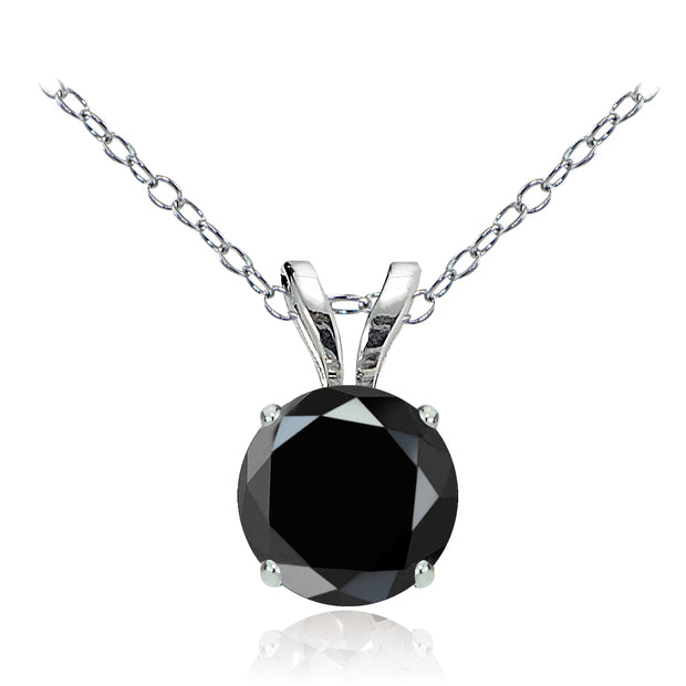 14k White Gold Black Spinel 6mm Round Solitaire Necklace