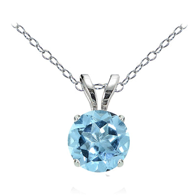 14k White Gold Blue Topaz 6mm Round Solitaire Necklace