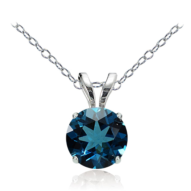 14k White Gold London Blue Topaz 6mm Round Solitaire Necklace