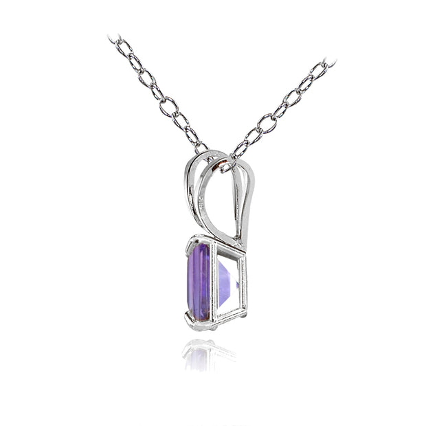 14k White Gold African Amethyst 5mm Princess-Cut Pendant Necklace