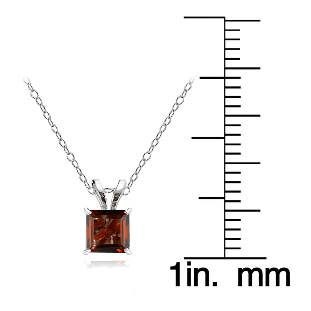 14k White Gold Garnet 5mm Princess-Cut Pendant Necklace