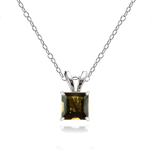 14k White Gold Smoky Quartz 5mm Princess-Cut Pendant Necklace