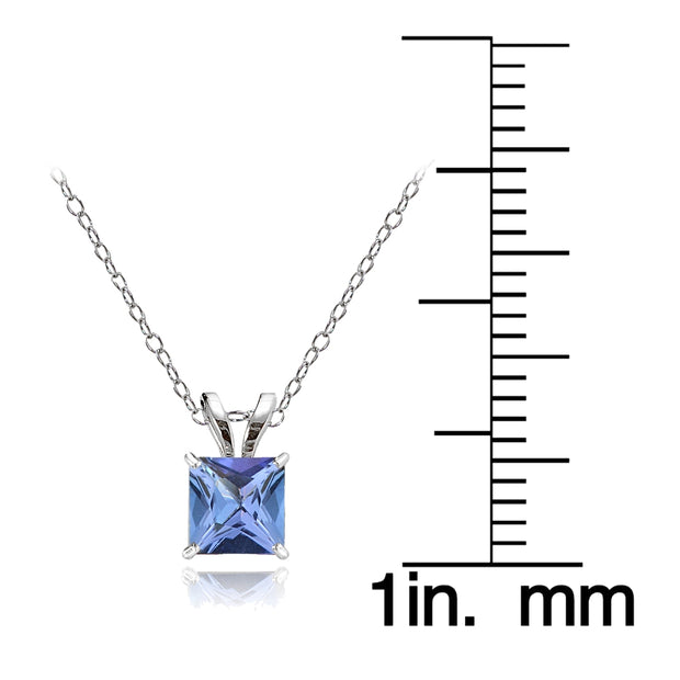 14k White Gold Tanzanite 5mm Princess-Cut Pendant Necklace