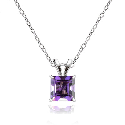 14k White Gold African Amethyst 6mm Princess-Cut Pendant Necklace