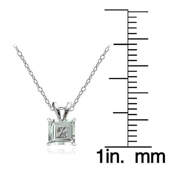 14k White Gold Light Aquamarine 6mm Princess-Cut Pendant Necklace