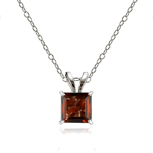 14k White Gold Garnet 6mm Princess-Cut Pendant Necklace