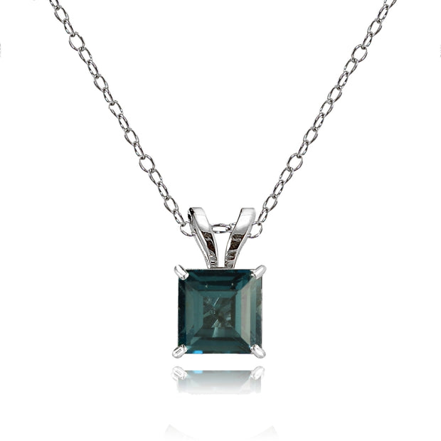 14k White Gold London Blue Topaz 6mm Princess-Cut Pendant Necklace