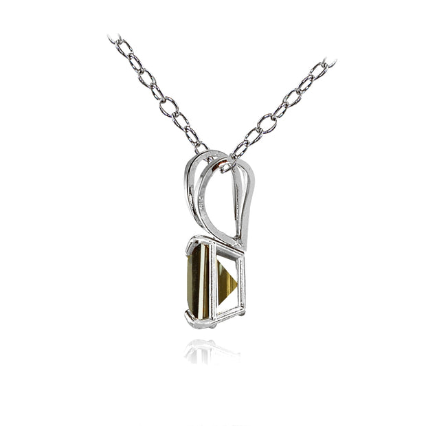 14k White Gold Smoky Quartz 6mm Princess-Cut Pendant Necklace