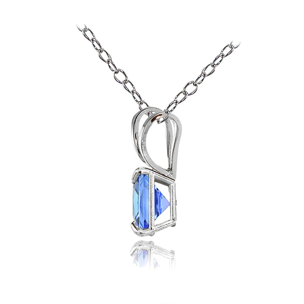 14k White Gold Tanzanite 6mm Princess-Cut Pendant Necklace