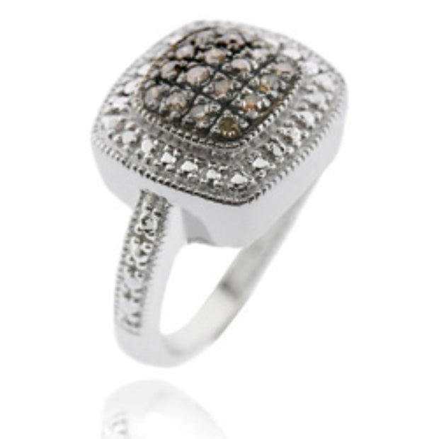 Sterling Silver 1/ ct tdw Champagne Diamond Square Ring