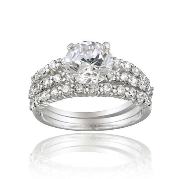 Sterling Silver Round CZ Bridal Engagement Stackable Ring Set