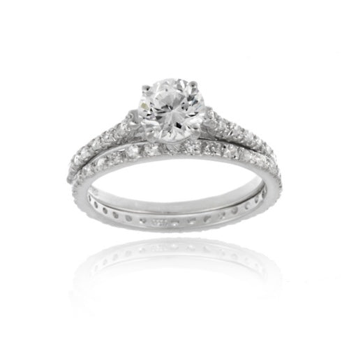 Sterling Silver Round CZ Bridal Engagement Ring Set