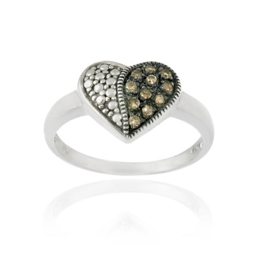 Sterling Silver 1/ ct. tdw Champagne Diamond Heart Ring