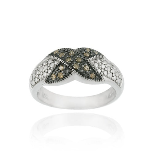 Sterling Silver 1/ ct tdw Champagne Diamond X Design Ring