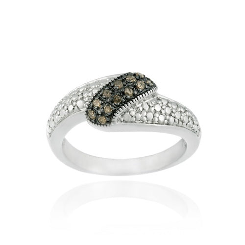 Sterling Silver 1/ ct tdw Champagne Diamond Wave Ring