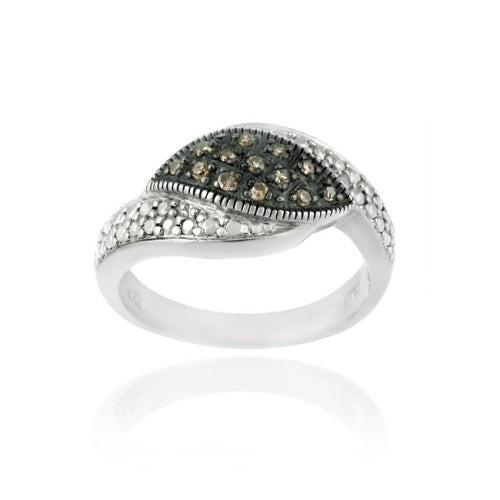 Sterling Silver 1/ ct tdw Champagne Diamond Pave Ring