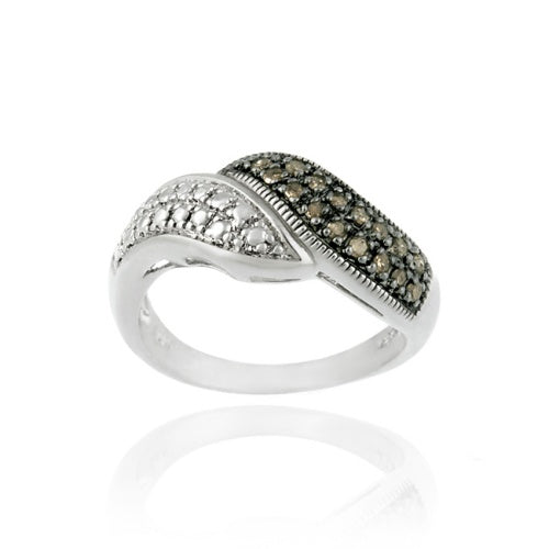 Sterling Silver 1/ ct. tdw Champagne Diamond Bypass Ring