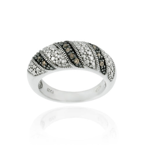 Sterling Silver 1/ ct tdw Champagne Diamond Swirl Ring