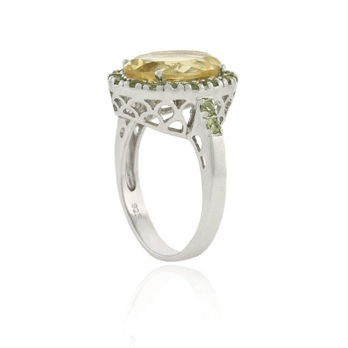 Sterling Silver Genuine . CT. TGW Citrine and Peridot Oval Ring