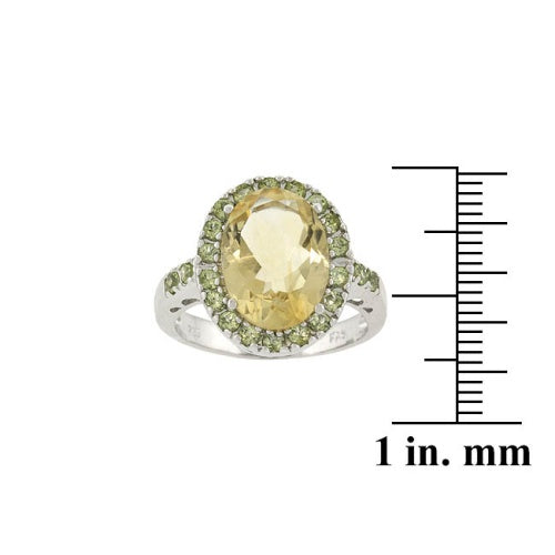 Sterling Silver Genuine 6.5 CT. TGW Citrine and Peridot Oval Ring