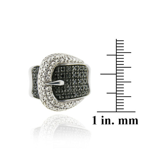Sterling Silver Black Diamond .43 ct tdw Belt Buckle Ring