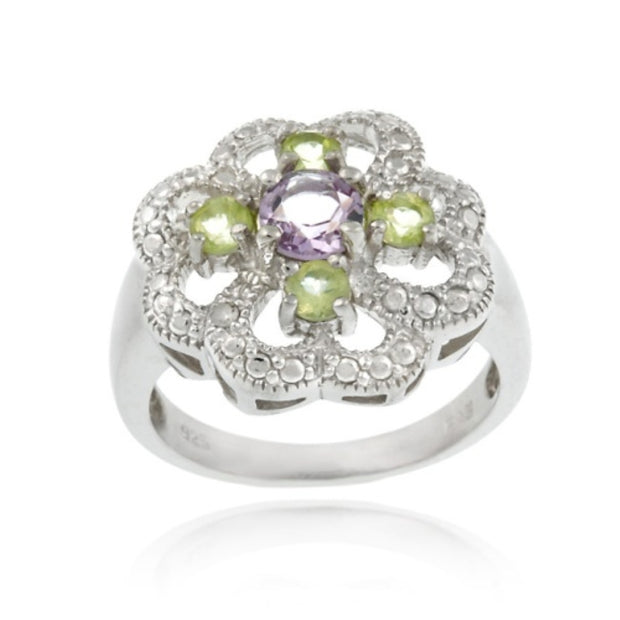 Sterling Silver Amethyst, Peridot and Diamond Accent Flower Design Ring