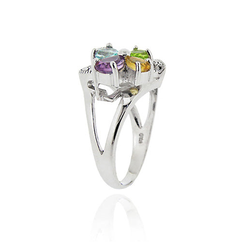 Sterling Silver Multi Gemstone Diamond Accent Flower and Open Heart Ring