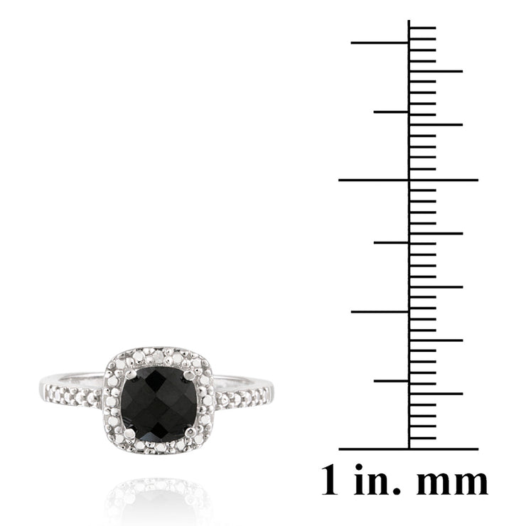 Sterling Silver 2ct Black Spinel & Diamond Accent Square Ring