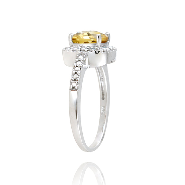Sterling Silver Citrine & Diamond Accent Square Ring