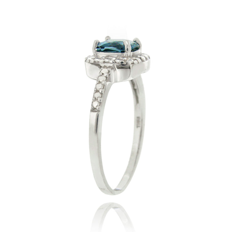 Sterling Silver London Blue Topaz & Diamond Accent Square Ring