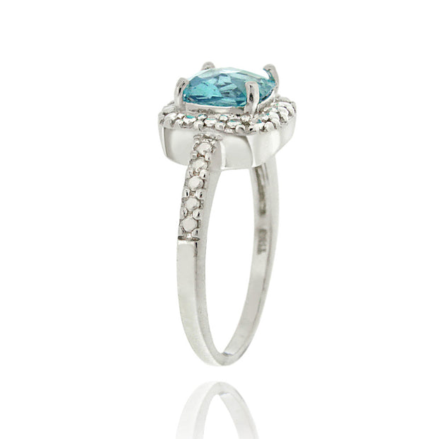 Sterling Silver Swiss Blue Topaz & Diamond Accent Square Ring