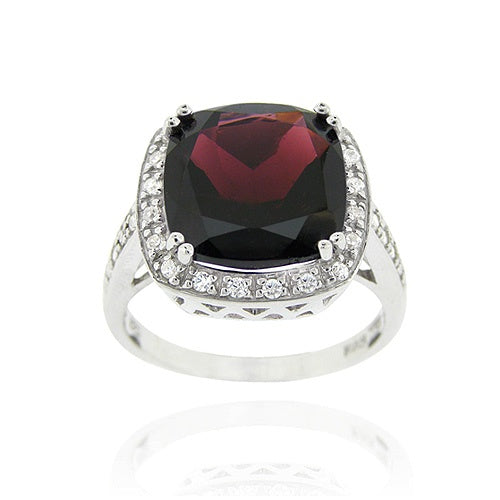 Sterling Silver ct. TGW Garnet & CZ Square Cocktail Ring