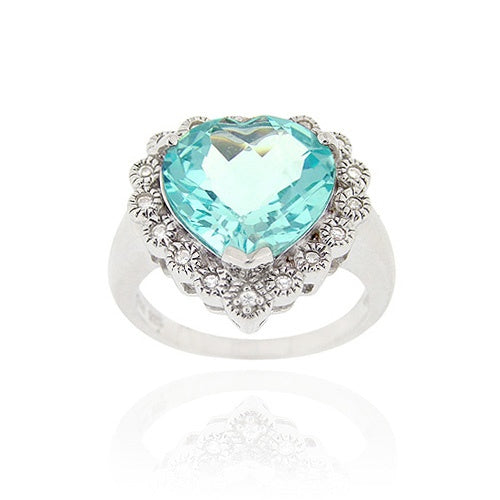 Sterling Silver ct. TGW Blue Topaz & CZ Heart Ring