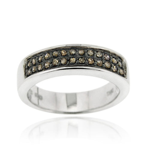 Sterling Silver 1/4 ct. tdw Champagne Diamond Band Ring