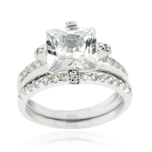 Sterling Silver Square CZ Wedding Engagement Stackable Ring Set