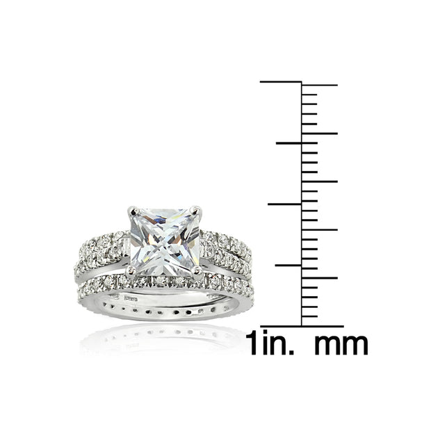 Sterling Silver Square CZ Wedding Engagement Ring Set