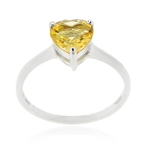 Sterling Silver Citrine Solitaire Heart Ring