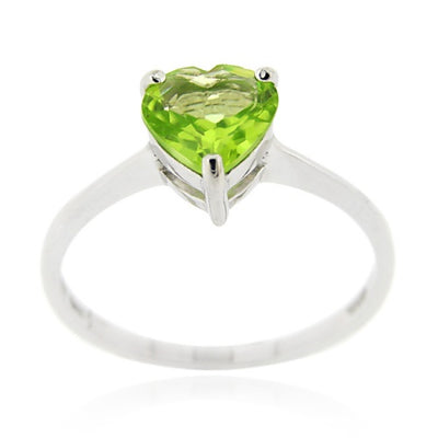 Sterling Silver Peridot Solitaire Heart Ring