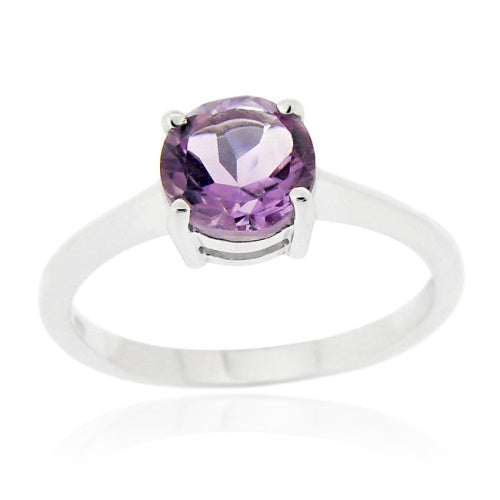 Sterling Silver Amethyst Solitaire Round Ring