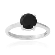 Sterling Silver 1.65ct Black Spinel Round Solitare Ring