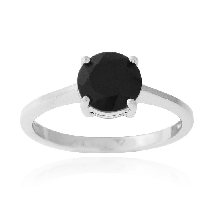 Sterling Silver 1.ct Black Spinel Round Solitaire Ring