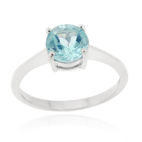 Sterling Silver Blue Topaz Round Solitaire Ring