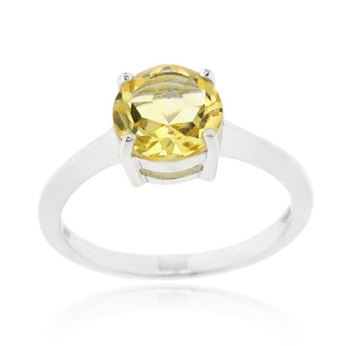 Sterling Silver Citrine Solitaire Round Ring